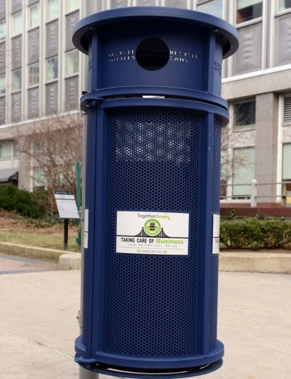 The recycling bin with Luke Ravenstahl's name on it (Bob Donaldson/Post-Gazette)